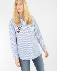 Chemise rayée à patchs mademoiselle e