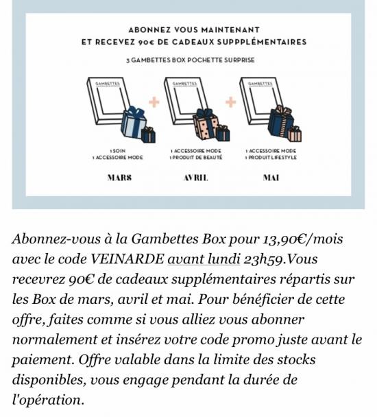 gambettes box offre VEINARDE mademoiselle-e