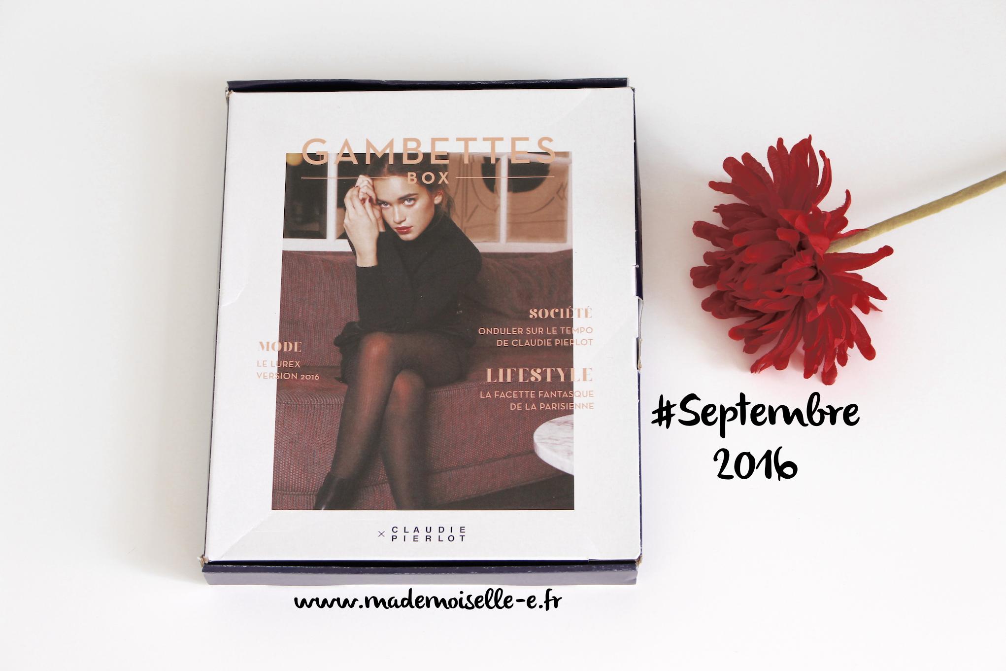 Gambettes box #Septembre 2016 Mademoiselle E – presentation