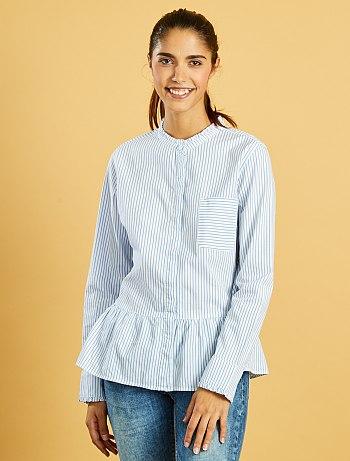 chemise-rayee-en-popeline-avec-col-fronce-raye-bleu-femme-vo932_1_fr3