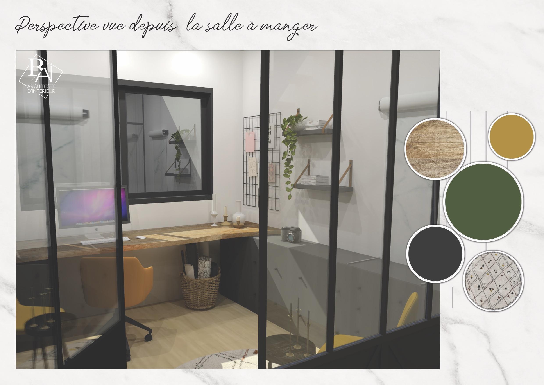 Idées aménagement bureau – Plan 3D 1 mademoiselle-e x bai_b_architecteinterieur