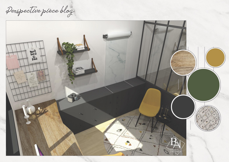 Idées aménagement bureau – Plan 3D 2 mademoiselle-e x bai_b_architecteinterieur
